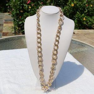 Long Chunky Boho Goldtone Statement Chain Necklace